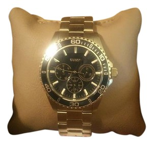 Guess GUESS Men's Black Dial Gold-Tone Chronograph Watch