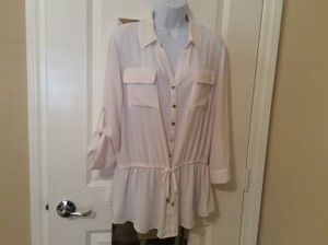 Lane Bryant Poly Blouse Polyester Poly Blouse Button Down Shirt White
