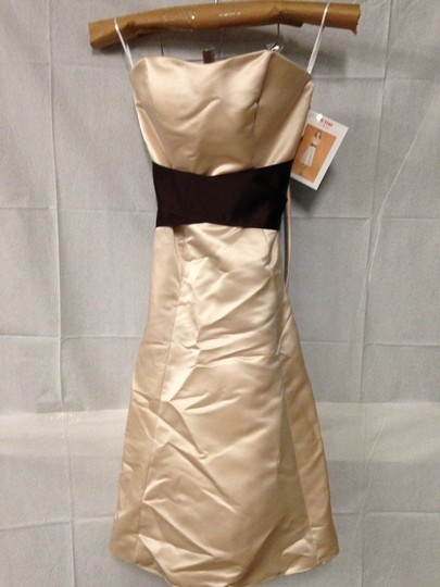 Wtoo Khaki / Cognac Bridesmaid/Mob Dress Size 10 (M) Image 1