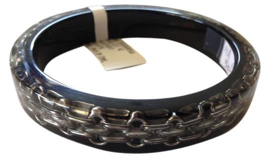 Chanel CHANEL AUTHENTIC NWT SIVERTONE AND BLACK RESIN BANGLE BRACELET