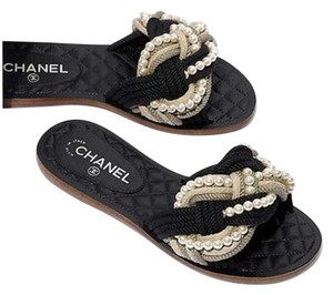 Chanel Pearl Runway New With Tags Black/Beige Sandals