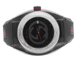 Gucci New Mens Black Gucci Sync 46MM Pave Set Diamond Watch YA137101 1.25 Ct