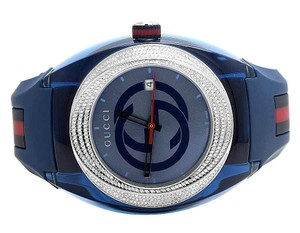 Gucci Custom New Mens Blue Sync 46MM Pave Set Diamond Watch YA137104 1.25 Ct