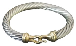 David Yurman 7mm sterling silver, 14K gold cable buckle bracelet