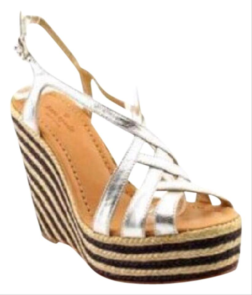 12d2985afc7 Kate Spade Silver Metallic Lindsay Patent Leather Sandal Wedges Size ...