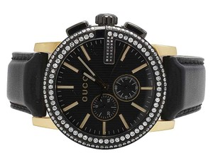 Gucci Mens G-Chrono Gold Black PVD S.Steel 44MM Diamond Watch YA101203 3 Ct
