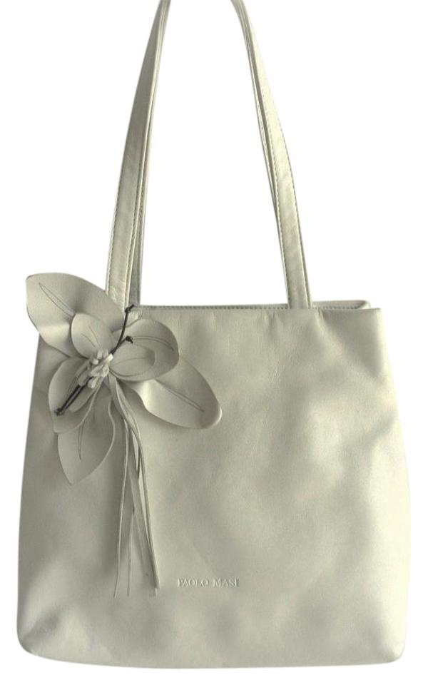 406be10e4dd Paolo Masi Shoulder Bag Italy Leather Flower Accent Medium White Tote