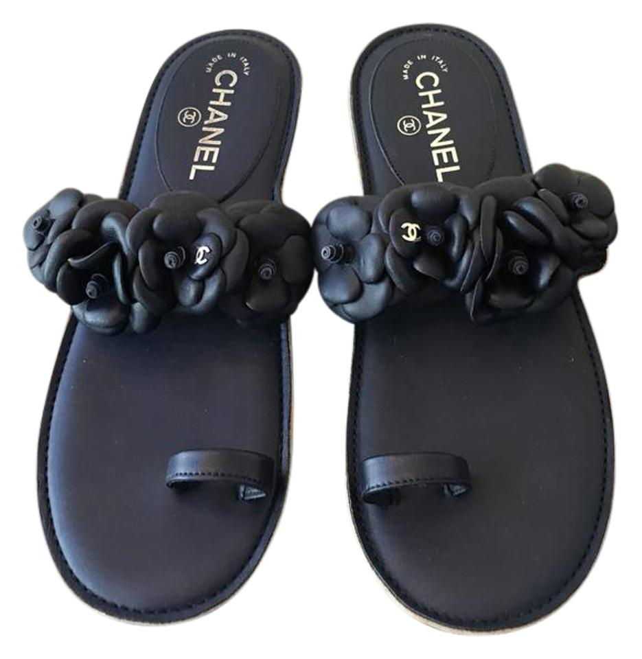1f93653620128 Chanel Camellia Silver Cclogo Very Comfy and Stylish Sandals Size US ...