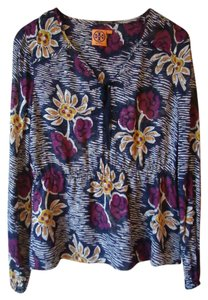 Tory Burch Silk Floral Navy Top Multi-color