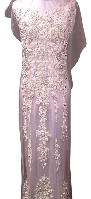 Item - White Crystal Appliqué Long Formal Dress Size OS (one size)