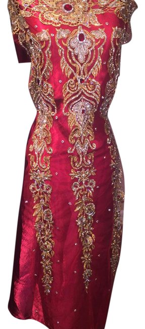 Item - Red Crystal Appliqué Long Formal Dress Size OS (one size)