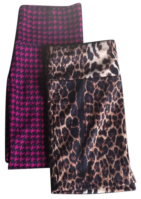 Item - Leopard and Magenta Houndstooth Skirt Size 0 (XS, 25)