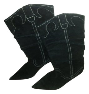 Boot Suede Point Toe Rocker Black with white stitch Boots