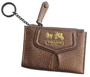 Coach Coach Gold Leather ID Card Holder