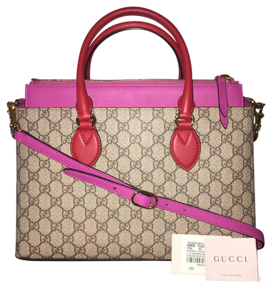 0195b4dd574f Gucci 2017 Tote Leather Top Handle Satchel Pink & Hibiscus Gg ...