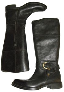 Steven by Steve Madden Riding Leather Equestrian Riding Moto Black Boots