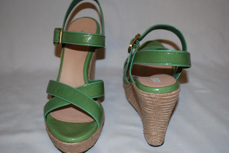 e610631306a UGG Australia Green Grass Jackilyn Leather Buckle Scrappy Sandals Women  Wedges Size US 8 Regular (M, B)