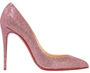 "Christian Louboutin Pigalle Follies Glittered Canvas 100mm 4"" pink Pumps"
