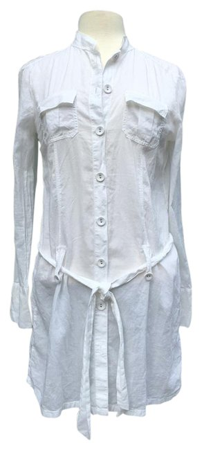 Item - White Sheer Buttoned Front and Cuffs Tie Belt with Loops Short Casual Dress Size 8 (M)