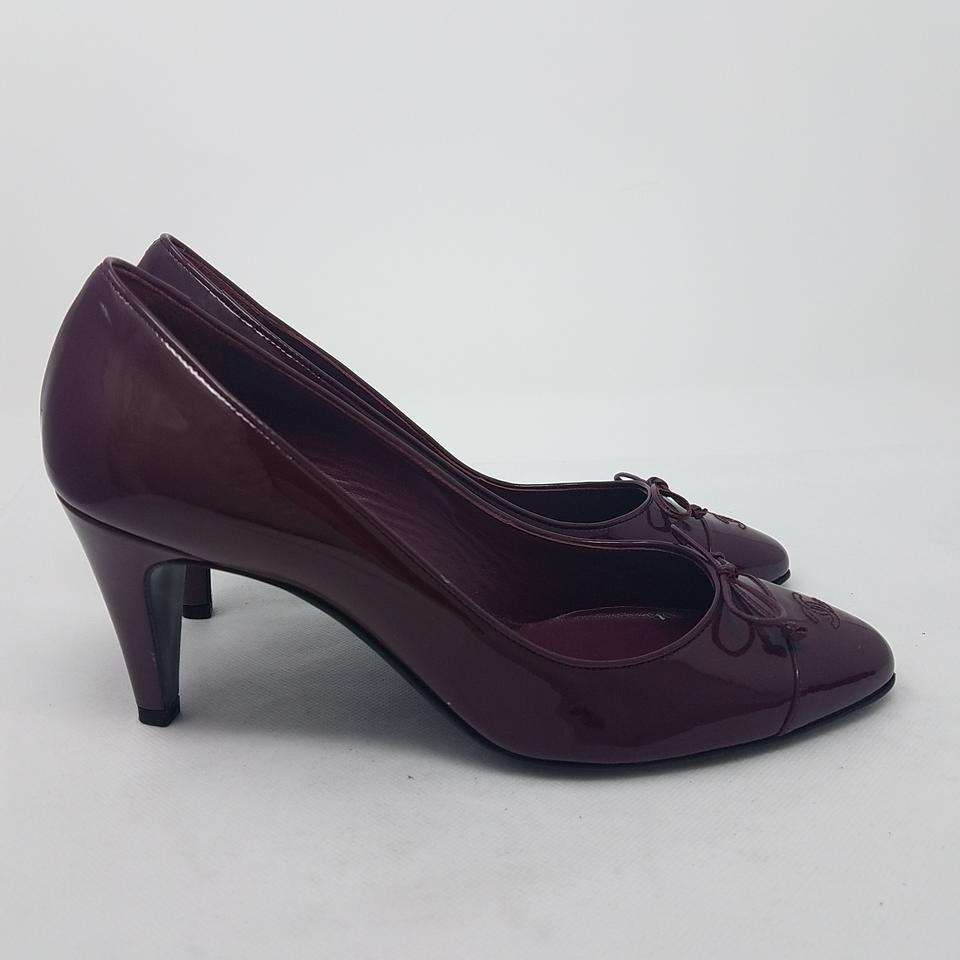 5fb0cacbf9 Chanel Pointed Toe Patent Leather Bow Interlocking Cc Logo Burgundy, Red  Pumps Image 11. 123456789101112