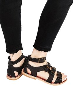 H by Hudson Gladiator Strappy Leather Edgy Black Sandals