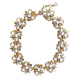 J.Crew Metallic Gold Crystal Blossom Floral Statement Necklace