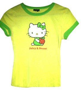 Other Rave Retro Stage Hello Kitty Juicy Sweet Emo Girl Women T Shirt yellow and Lime