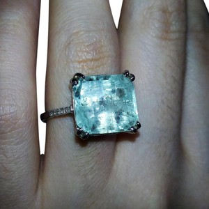 other 8.35CT NATURAL COLOMBIAN EMERALD&DIAMOND 14K WHITE GOLD COCKTAIL RING
