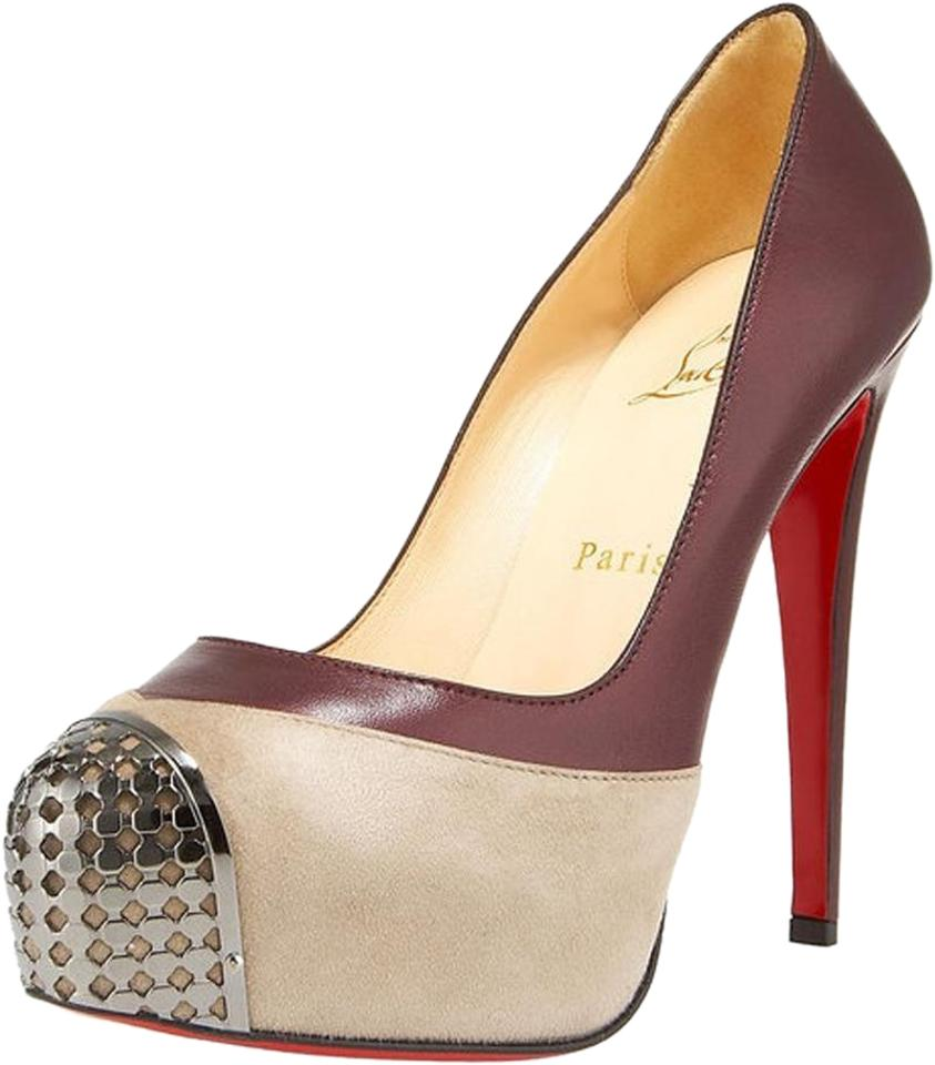 2cf3af9f4a38 Christian Louboutin Oyster Gray Burgundy Maggie 160 Pumps Size EU 38 ...