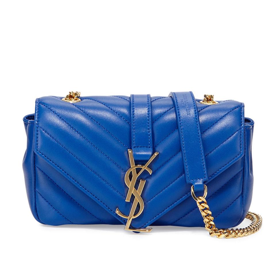 36eb9f01509 Saint Laurent Ysl V Mini Chain Blue Lambskin Leather Cross Body Bag ...