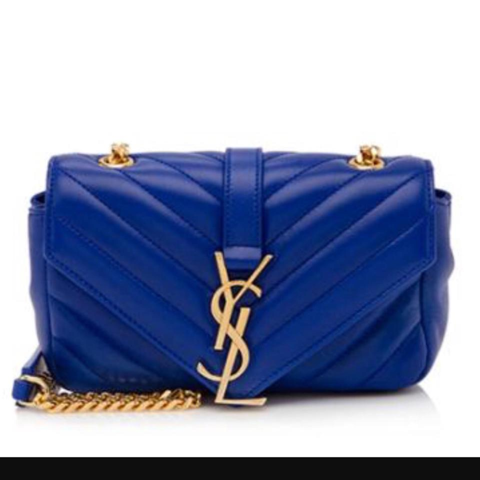 5654ab6f67d Saint Laurent Ysl V Mini Chain Blue Lambskin Leather Cross Body Bag -  Tradesy