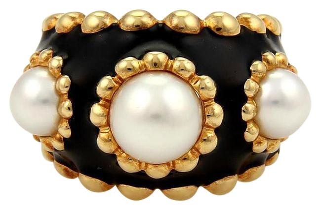 Item - Black White & Yellow Pearl Accented Wide Ring