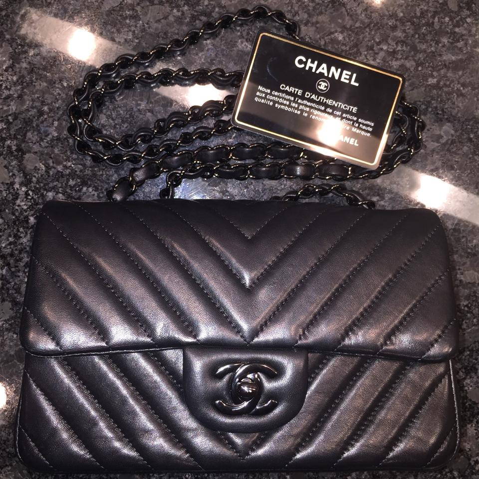a4d5becd5c4b Chanel Classic Flap So-black Chevron Mini 15s Black Lambskin Leather Cross  Body Bag - Tradesy