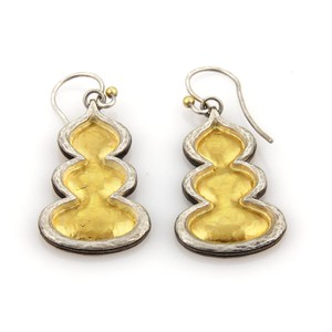 GURHAN 17898 - FLAME 3 Tier Sterling Silver & 24k Gold Drop Dangle Earrings
