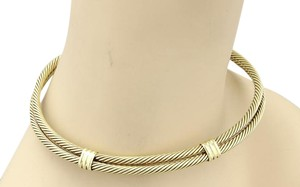David Yurman Classic Double Cable Wire Choker 14k Yellow Gold Necklace
