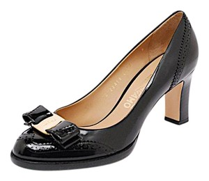 Salvatore Ferragamo Spectator Ferragamo Patent Leather Black Pumps