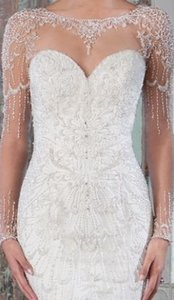 Justin Alexander Beaded Fit And Flare Bridal Gown With Illusion Neckline 9817 Wedding Dress