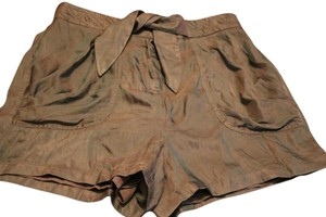 bebe Silk Olive Mini/Short Shorts Green