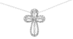 Luxo Jewelry 0.70 CT Diamond 18K Gold Open Cross Pendant 14K Gold Chain Necklace