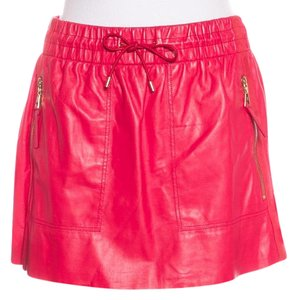 Louis Vuitton Gold Hardware Lv Embellished Leather Charm Mini Skirt Red, Gold