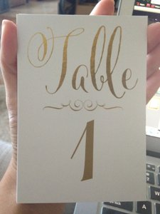 Zazzle White + Gold Foil Lettering Wedding Table Number Cards - Tables 1-15 - 2 Sets Available