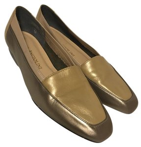 Enzo Angiolini Leather Slip On 3 Tone Loafer Gold / tan Flats