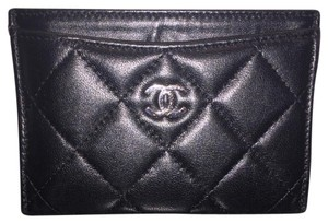 Chanel Card Holder clutch Black Quilted Lambskin SHW Silver Hardware
