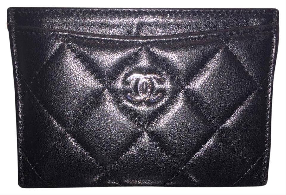 d8613e29c338c4 Chanel Card Holder clutch Black Quilted Lambskin SHW Silver Hardware Image  0 ...
