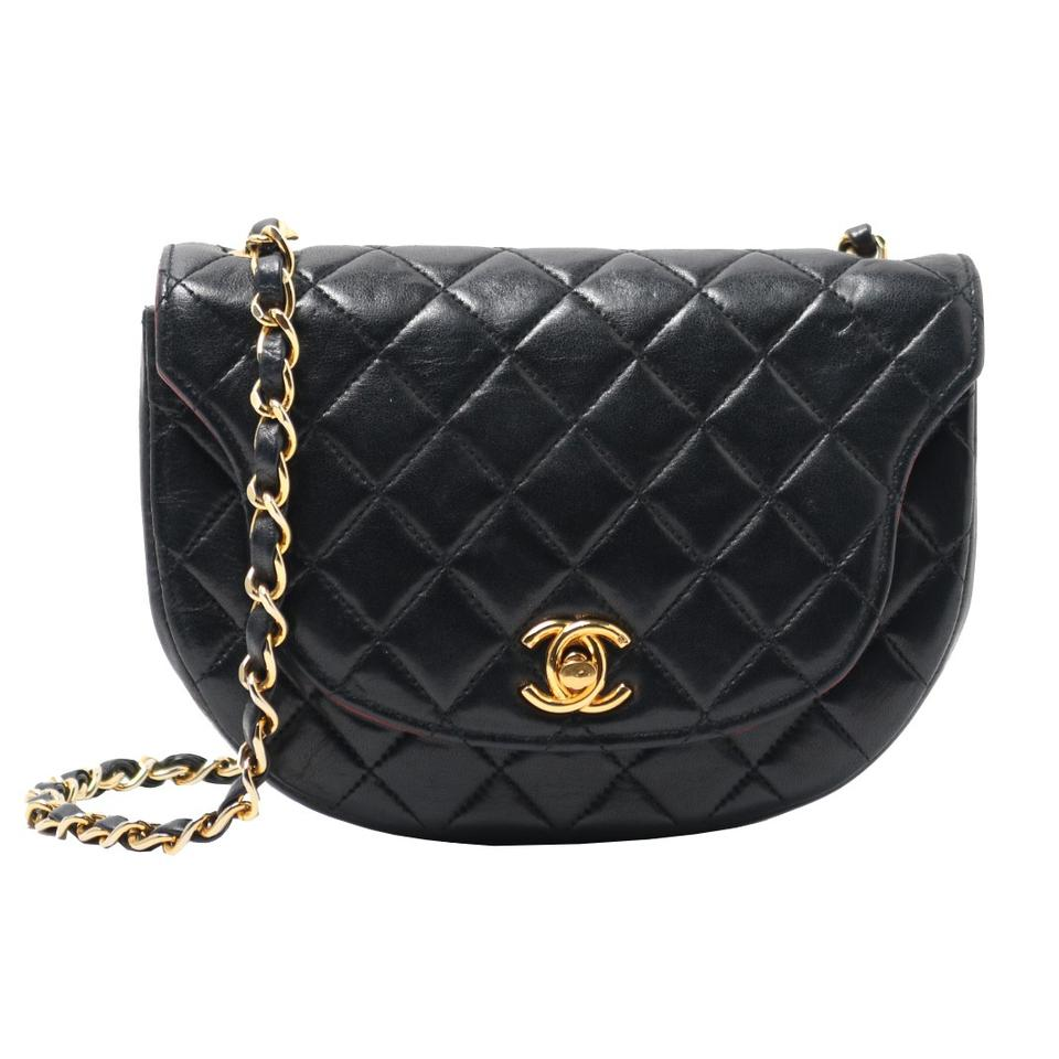 278f6df6f1a8 Chanel Vintage Quilted Mini Half Moon Flap Black Lambskin Leather ...