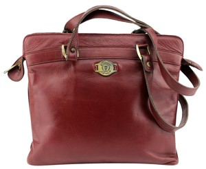 Etienne Aigner Vintage Classic Casual Leather Flat Tote in Red