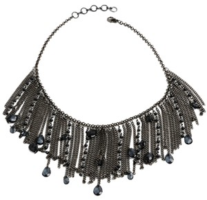 Amrita Singh Tons of Gun Metal Hanging Chains Mixed Baby Faux Pearls Amrita Singh Bib Necklace Boho