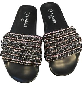 Chanel Chain Chain Mules Chain Chain Flats Size 36 Black Pink Yellow Purple Silver Sandals
