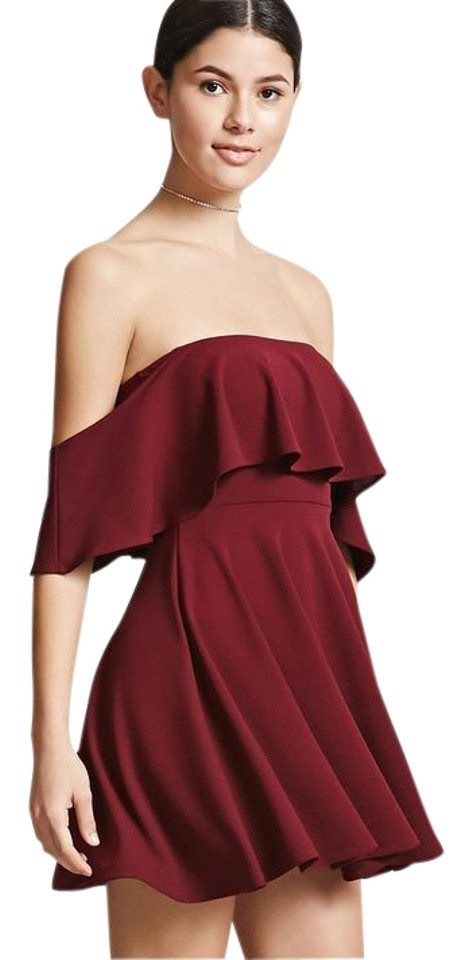 Forever 21 Burgundy Maroon Off Shoulder Flounce Short Night Out Dress Size 4 S