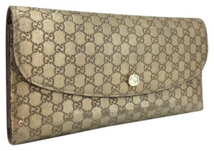 Gucci GUCCI Micro Shima GG Logo Pattern Gold Leather